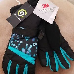 NWT Girls Champion waterproof duo dry ski gloves